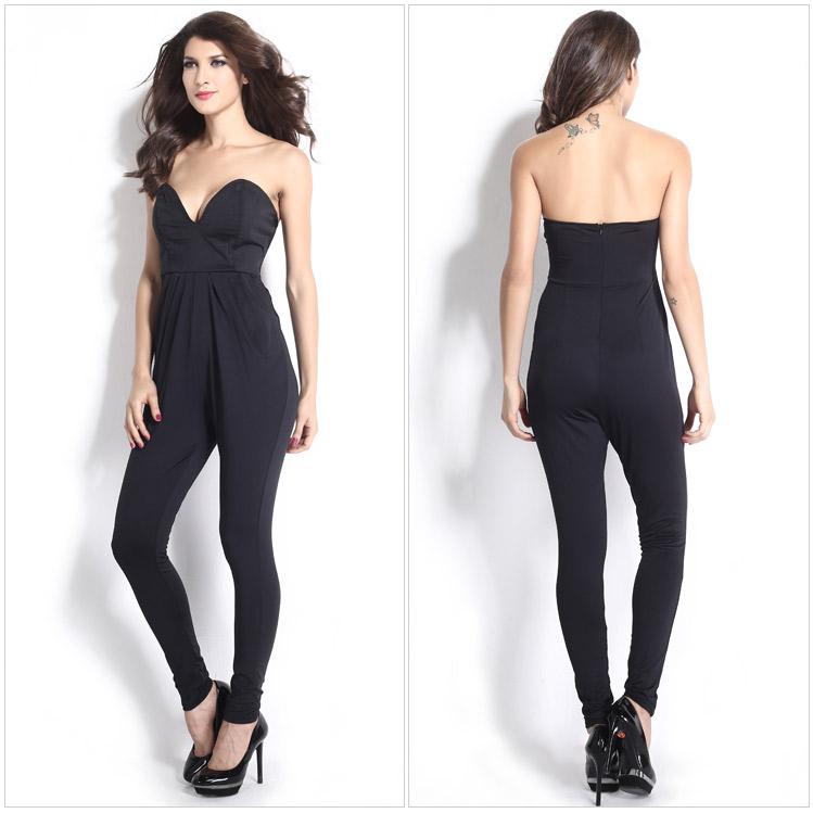 woman playsuit female black jump suit womens long jumpsuit. Black Bedroom Furniture Sets. Home Design Ideas