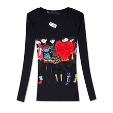 camisas femininas 2016 autumn new arrival cartoon print slim o-neck long sleeve cotton t shirt women Size: M,L,XL tshirt women's(China (Mainland))