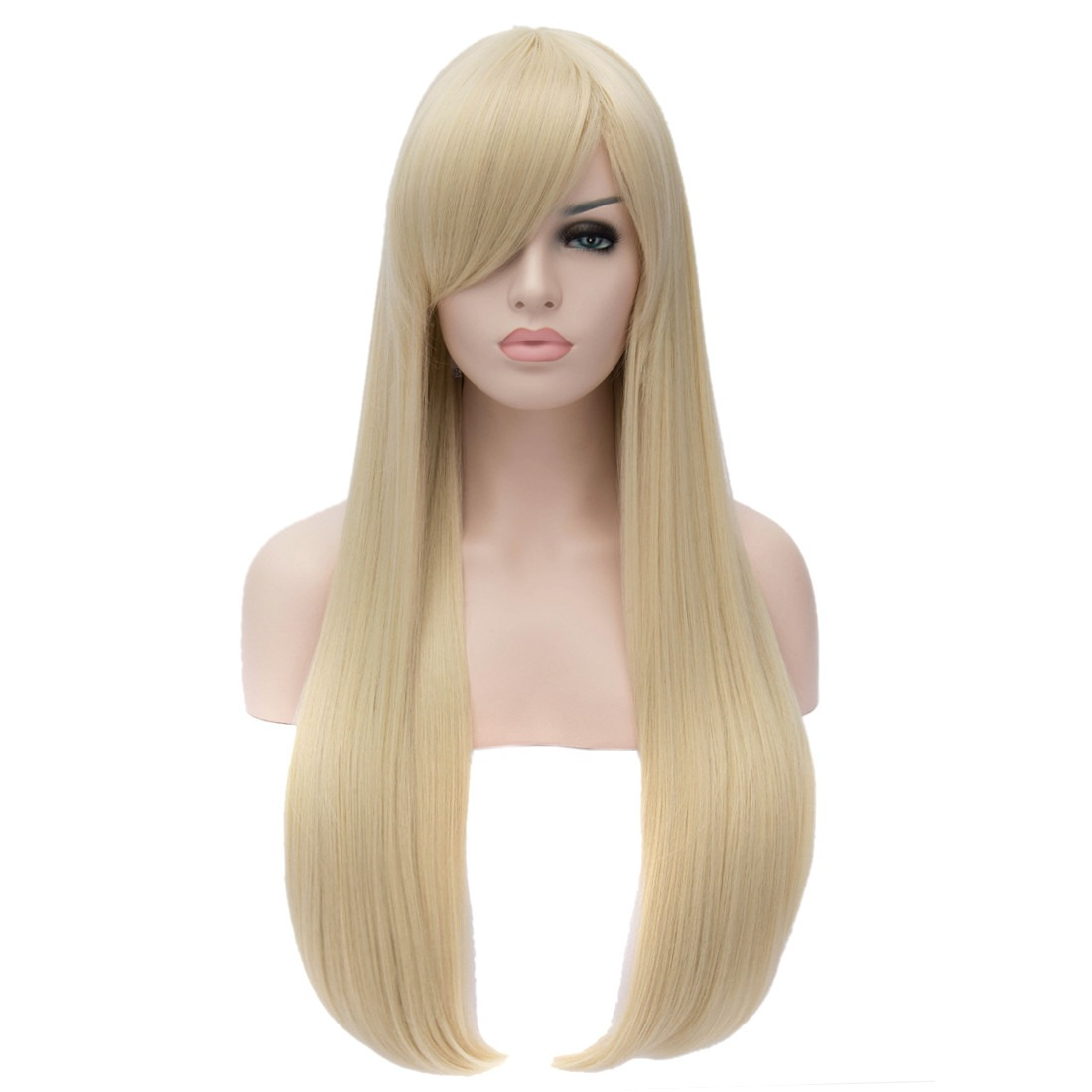 Women 80cm Long Straight Cosplay Anime New Synthetic Full Fancy Party Wigs