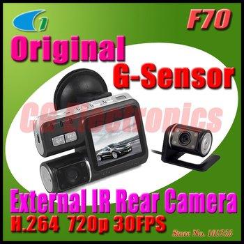 H.264 720P Separate Dual Lens Car vehicle Camera Recorder DVR w/G-sensor/Rear Camera