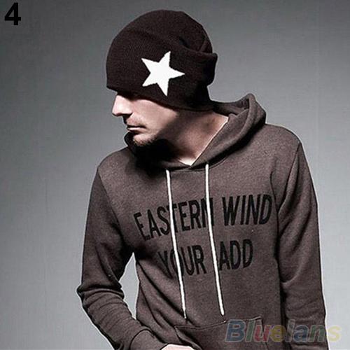 Pentacle Star Warm Skull Beanie Hip Hop Knit Cap Ski Crochet Cuff winter hat for Women