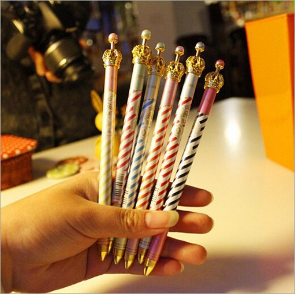 60 pcs/Lot  Crown ballpoint pens 0.5mm Kawaii Stationery bulk ballpen Caneta Novelty Office accessories school supplies<br><br>Aliexpress