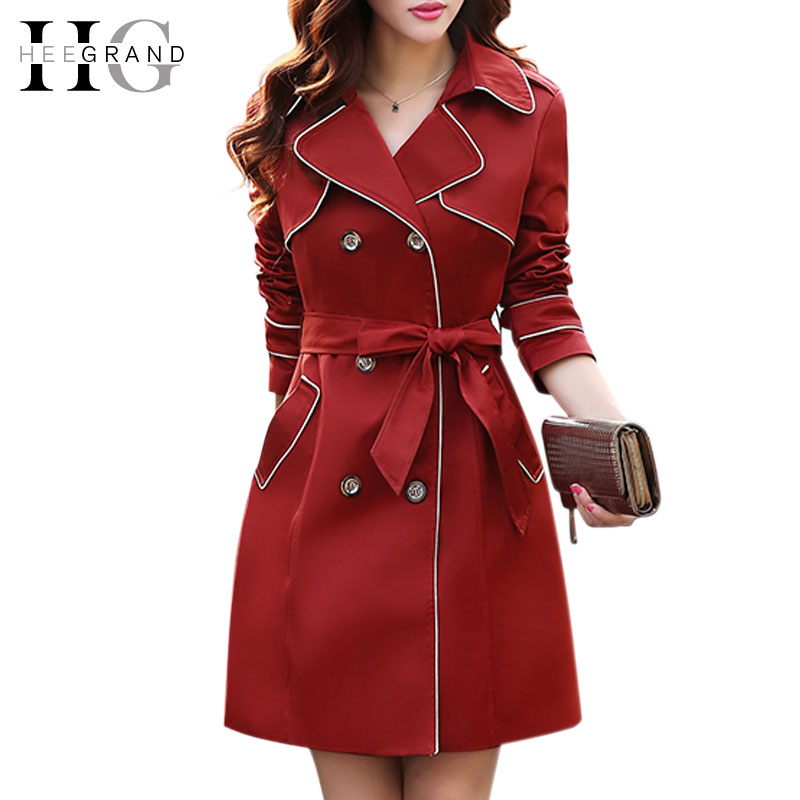 2015 High Quality Autumn Slim Double Breasted Womens Full Sleeve Trench Coat For Women Sobretudo Feminino Plus Size 3XL WWF369Одежда и ак�е��уары<br><br><br>Aliexpress