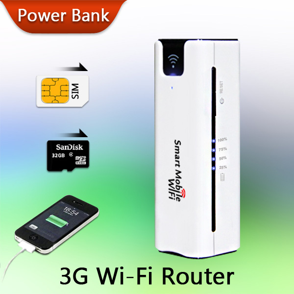 New Arrival! Mobile Portable Multifunctional Mini Wireless Power Bank Battary Charger 3G WiFi Router with SIM Card Slot(China (Mainland))