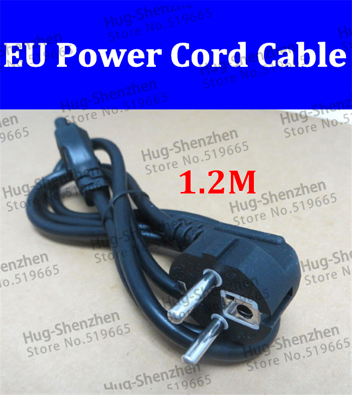 10pcs Useful 1.2M EU 3 Prong 2 Pin AC Power Cord Adapter Cable Black Extension Wall Cord Power Cable Laptop Battery Charger(China (Mainland))