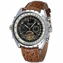New Aviator Men Automatic Mechanical Wrist Watch Genuine Python Pattern Leather Tourbillion Roman Number Calendar Sub Dial + BOX
