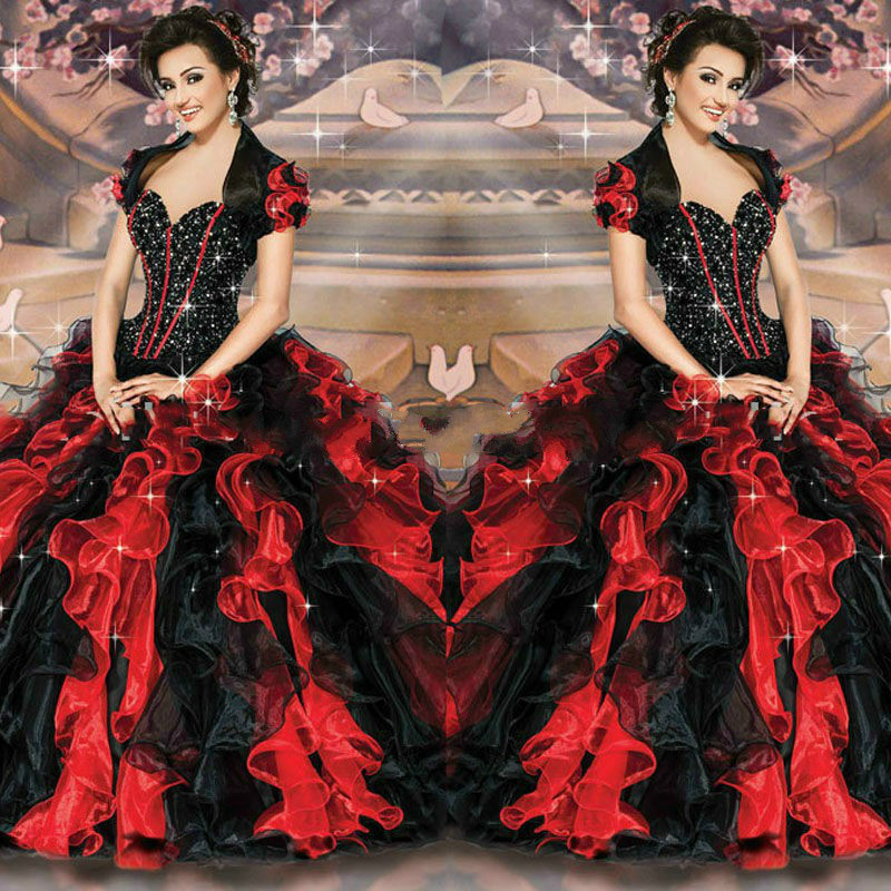 New Sweetheart Beaded Ruffles Organza With Jacket Masquerade ball gowns Red Black Quinceanera dresses 2015 vestidos de 15 anos(China (Mainland))