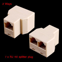 RJ45 3 Ways Network Cable Splitter Extender Plug Coupler Computer Network Cable Accessories Wholesale Retail(China (Mainland))