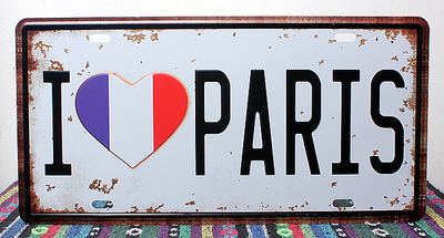 Metal Tin I LOVE PARIS LONDON Retro Car License Plate Vintage Metal Tin Signs Bar Pub Cafe Home Art Metal Signs Size15*31cm DS01(China (Mainland))