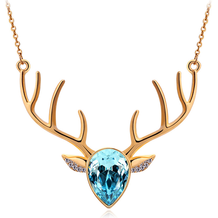 Wholesale Fashion Accessories Jewelry Full Rhinestone Austria Crystal puppy Deer Head Pendant Necklace(China (Mainland))
