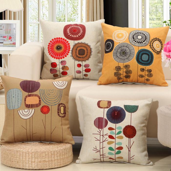 Sun Flower Cotton Linen Decorative Sofa Cushion 45x45cm/17.7x17.7'' Embrace Throw Christmas Pillow Chair Cushion Home Textile(China (Mainland))