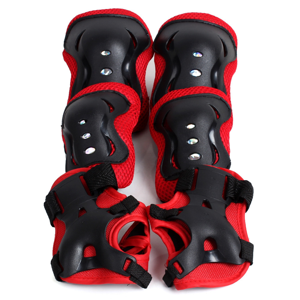 Kids Roller Skating Knee Elbow Wrist Protective Pad Children Child SkateBoard Red Guard Pads Wholesale(China (Mainland))