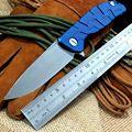 Newst F95 bearing Flipper folding knife D2 blade TC4 Blue Titanium handle outdoor camping hunting pocket