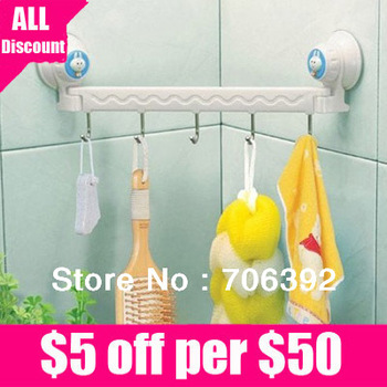Retail Free shipping high quality suction wall five linked hook /towel holder/hard rubber hanger/bathroom hook 1pcs/lot