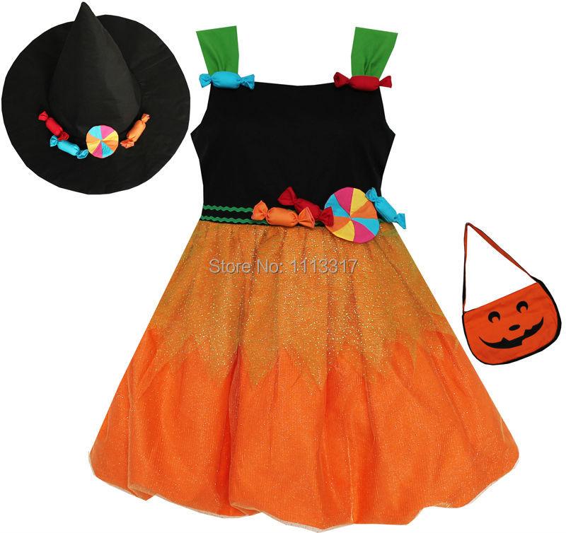 Girls Dress Halloween Candy Pumkin Handbag Orange Black 4-8<br><br>Aliexpress
