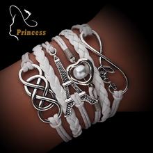 2016 Vintage Fashion Women Jewelry Infinite Bracelets Leather Multilayer Bracelets Wholesales Bijoux Jewellery(China (Mainland))