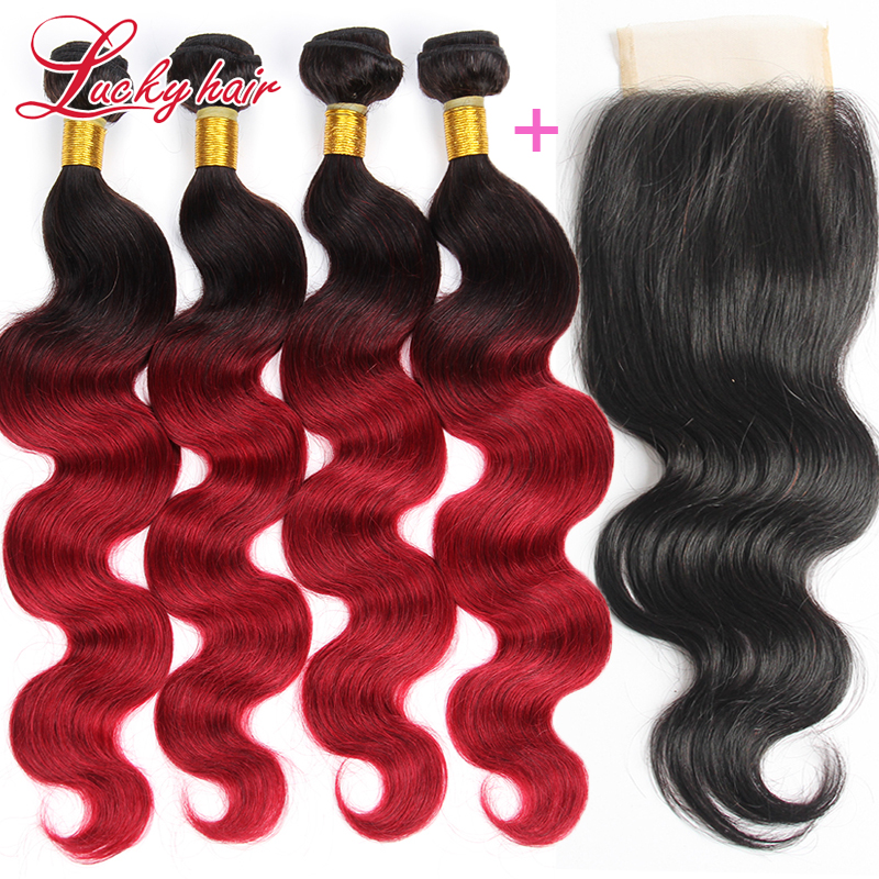 Ombre Burgundy Brazilian Hair With Closure 7A Brazilian Virgin Hair Body Wave Ombre Brazilian Body Wave 4 Bundles With Closure