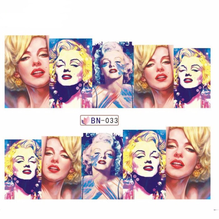 1 Sheet Marilyn Monroe  Full Cover  Nail Stickers  Decal Water Transfer Stickers Nail Decals Nail Art Free Shipping