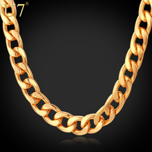 U7 Men Jewelry Gold Necklace Wholesale New Trendy 18K Real Gold Plated 3 Size 7 MM Chunky Curb Cuban Link Chain Necklaces N317(China (Mainland))