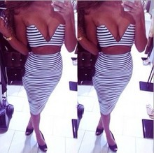 Sexy Summer Dress Nice Pop Women Night Party Club Dresses Deep V Neck 2 Piece Woman Clothing Striped Print Vestido Casual Dress