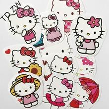 Buy TD ZW 11PCS Japanese Anime hello kitty cat DIY car stickers Skateboard Suitcases Guitar Bike Laptop Vinyl PVC Waterproof sticker for $2.45 in AliExpress store