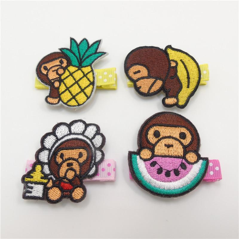 10pcs/lot Cartoon Monkey Hair Clips with Fruit No Slip Velour Banana Pineapple Milk Bottle Hairpin Baby Dot Toddler Barrettes(China (Mainland))