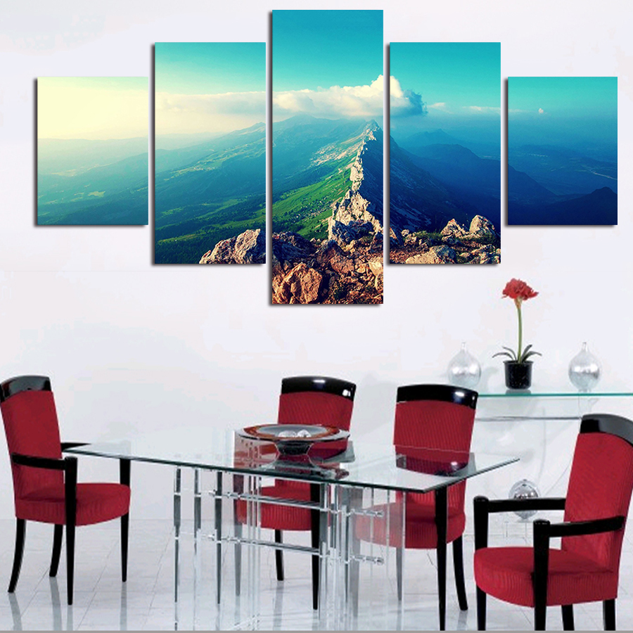 2016 beautiful mountains landscape Five pieces Wall PicturesDecorative for living room decoration free shipping(China (Mainland))