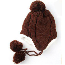 Children Cap Twist Plus Velvet Ear Baby Hat Cap Wool Knitted Hat Kids Bonnet Three Balls Warm Winter Beanie Hat with Ears M109(China (Mainland))
