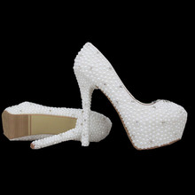 2016 Sale Lace Wedding Shoes Stock PU Cheap Platform Apatos Mujer Pearl Women Pumps High Heel
