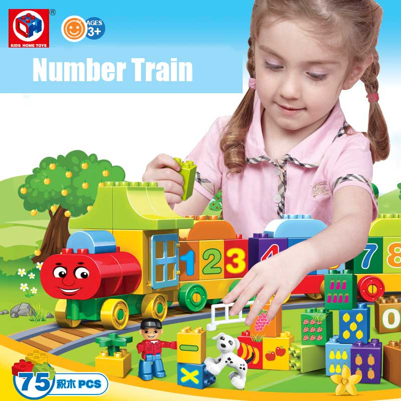 Kids's Home Toys My First Number Train 75PCS/SET Large Size Block Bricks Toy Large Particles Kids DIY Toy Compatible With Duplo(China (Mainland))