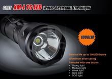 HIGHT QUALITY! 5-Mode 1000LM CREE XM-L T6 LED Flashlight Torch +2 X 18650 Batteries DC922(BC5) Free Shipping ! Wholesale!(China (Mainland))