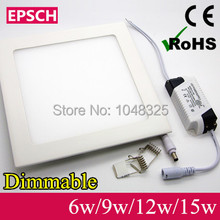 Livraison gratuite Ultra design mince 6 W / 9 W / 12 W / 15 W LED plafond Dimmable grille encastrer / lumière carrée mince panneau(China (Mainland))