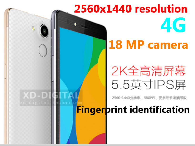 New 4G FDD-LTE TD-LTE fingerprint identification MTK6752 mobile phone 8core processor 5.5 Inch 4GB RAM 18.0 MP 2560x1440(China (Mainland))