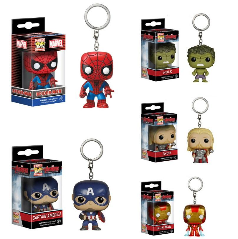 Marvel Avengers 2 Captain America FUNKO POP Pocket KeyRing Hanger Iron Man Hulk Thor PVC Action Toy Figure Collection Keychain(China (Mainland))