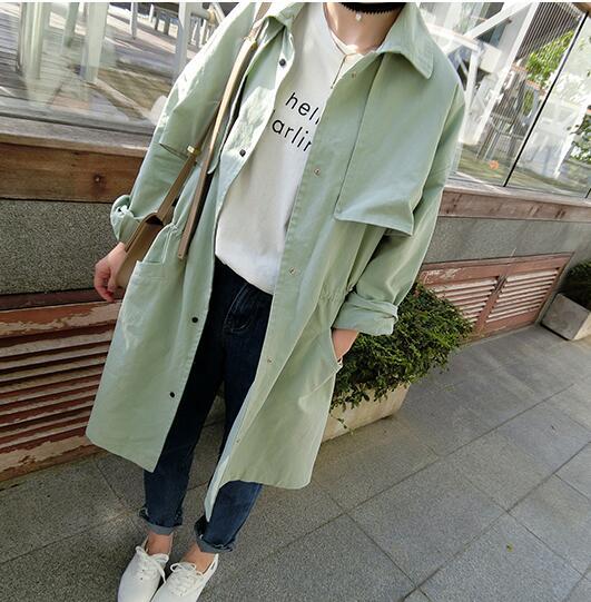 spring baby green white long trench coat women tops british style windbreaker veste femme vetement abrigo mujer chequate(China (Mainland))