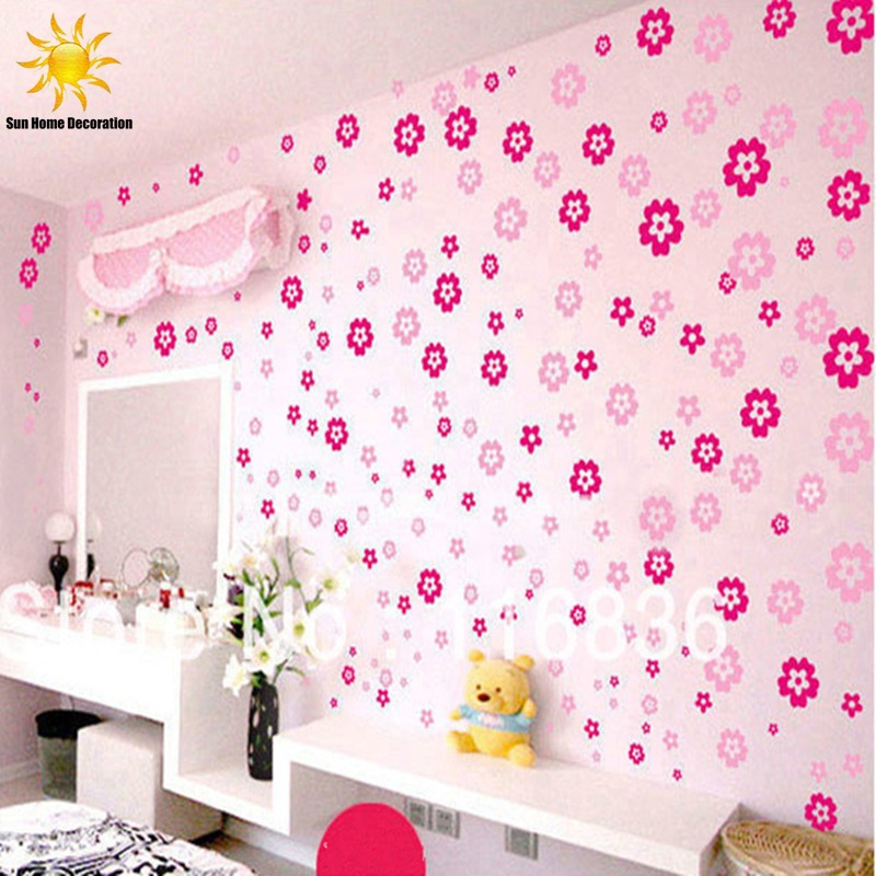 Holiday Sale 108 Flowers & 6 Butterfly DIY Removable Wall Sticker Decal home Bedroom Living/Wedding Room Kids Children Girls(China (Mainland))