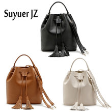 Buy Suyuer JZ New Fashionable Casual Women Bucket Bag Handbag Ladies Solid with Tassel Shoulder Bag Drawstring Crossbody Bag 3Colors for $31.34 in AliExpress store