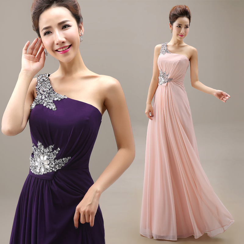 2015 wedding formal dress one shoulder purple pink evening for Formal long dresses for weddings