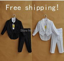 Free shipping new  kids tuxedo for boy suit child clothing black or White 5 pcs/ set (size 1-4 Age)(China (Mainland))