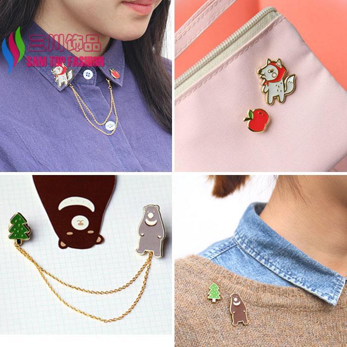 2016 new arrival gift jewelry fashion cuty Enamel wolf-grandam/ Bearskin alloy brooch pin for women(China (Mainland))