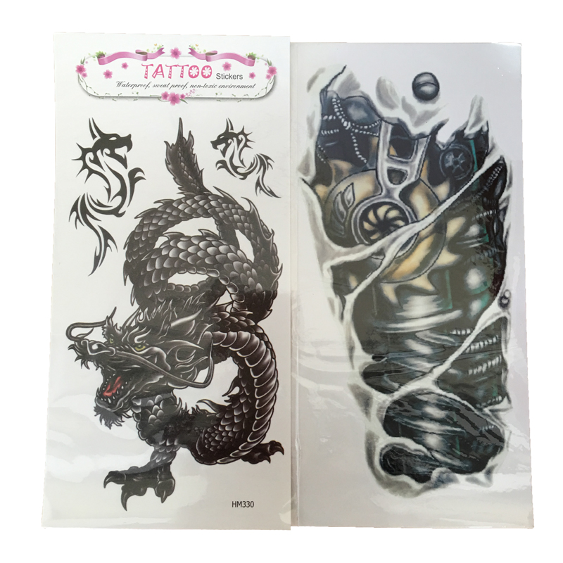 2PCS Man 3D Tattoo Sleeve Robot Arm And Dragon Waterproof Temporary Tattoo For Men Stickers On The Body Art Fake Tattoo Stickers(China (Mainland))
