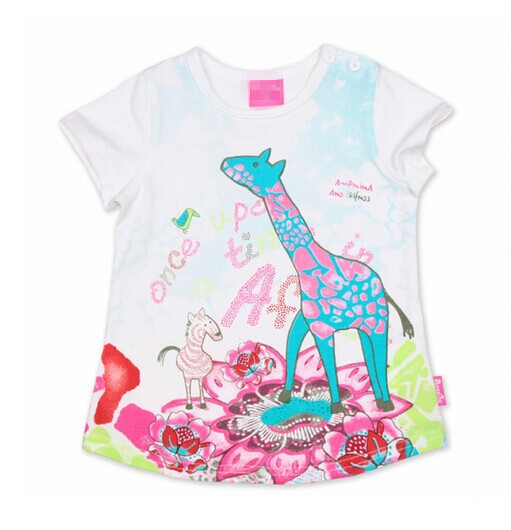 1PCS+Free girls Spring&amp;Summer Catimini foreign trade T-shirt kids 2014 new French style cute giraffe brand short-sleeve tops<br><br>Aliexpress