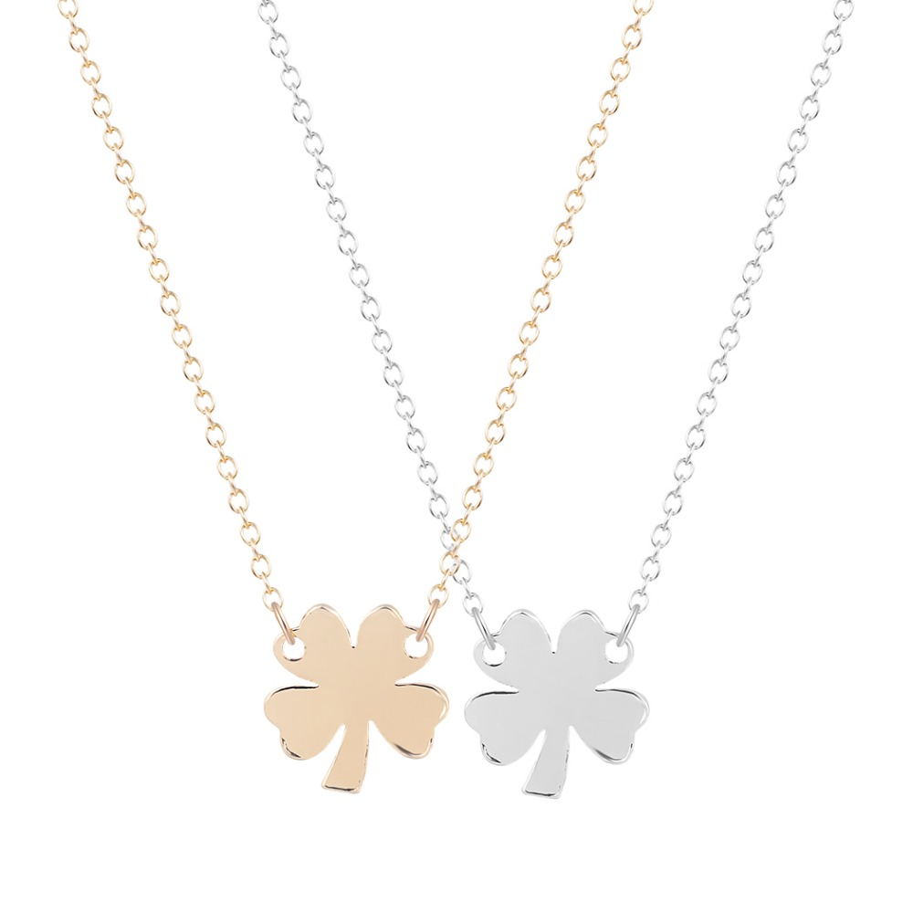 1pcs Tiny Lucky Four Leaf Clover Necklace18K Gold Plated Pendant Statement Necklace for Elegant Women Everyday Accessories(Hong Kong)