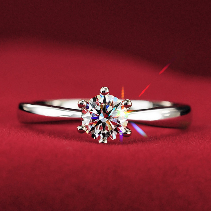 1Carat 6mm CZ Diamond Engagement Rings For Women Anel 925 Sterling Silver Jewelry Wedding Rings Aneis ouro Bague anillos(China (Mainland))