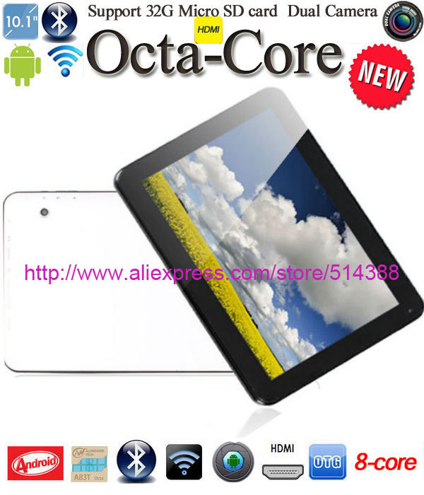 "Free shipping newest Octa Core 10"" Tablet 1G RAM 16G 2camera Bluetooth/HDMI/WIFI 10.1Inch touch screen 10 tablet android 4.4(China (Mainland))"