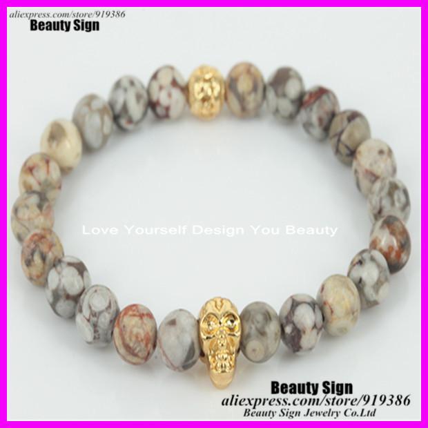 10pcs natural 8mm meaical stone beads bracelet silver/gold plated skull head bracelet men's hand bracelet yoga bracelet(China (Mainland))