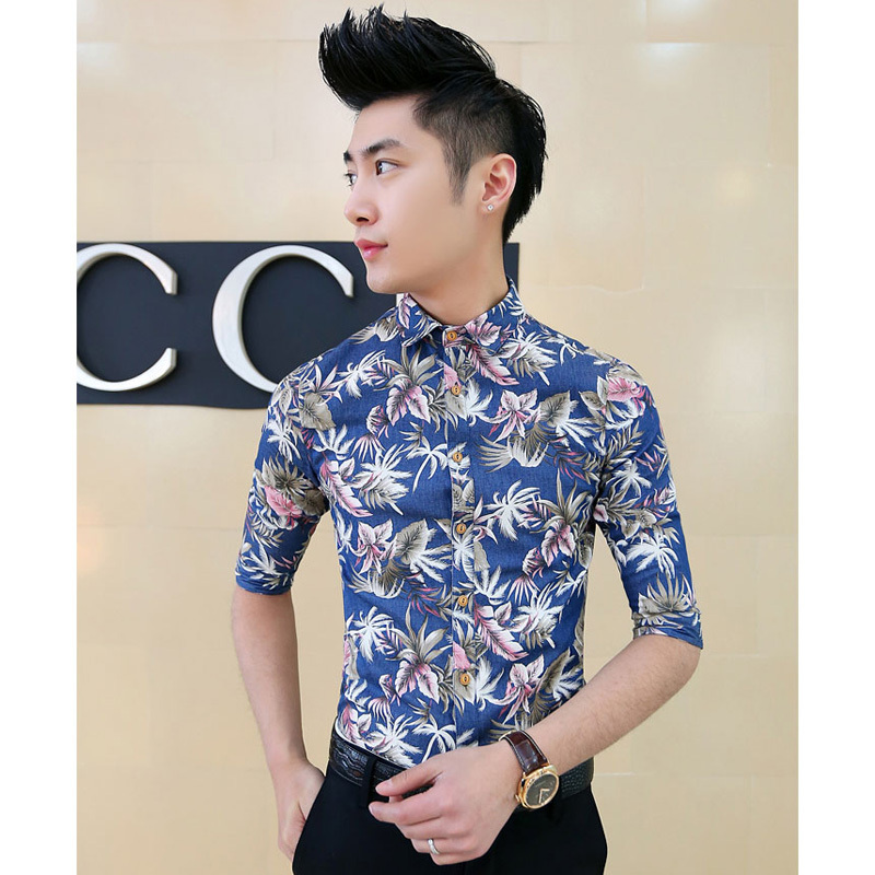 Popular sexy hawaiian shirt aliexpress for Mens slim hawaiian shirt