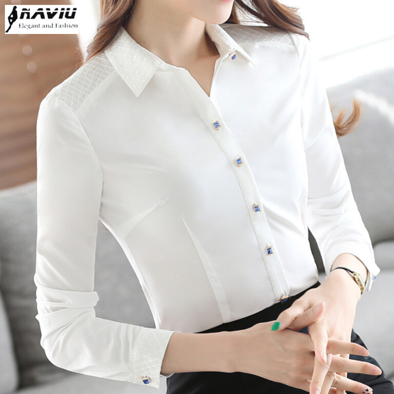 2016 Autumn elegant shirt OL women white clothing work wear chiffon plus size female blouse long sleeve formal office tops S-5XL - LOVIU (Drop shipping store)