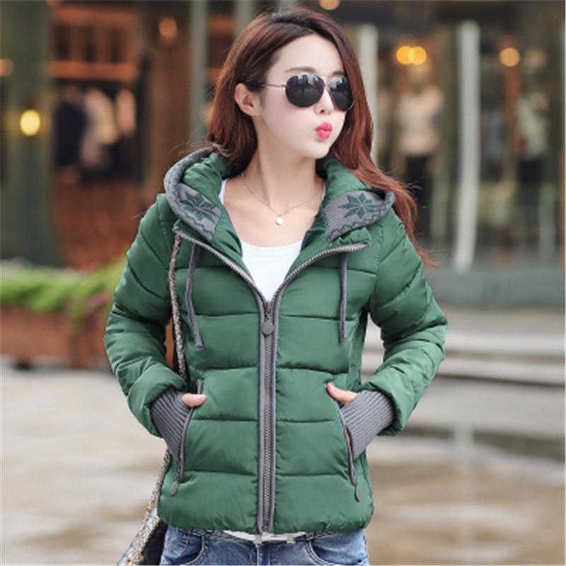 Скидки на 2016 Мода Зима тонкий короткие женщины куртка С Капюшоном ватные куртки хлопка-ватник куртка для женщин верхняя одежда женщин