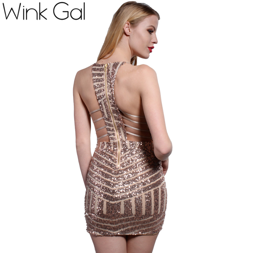 Wink Gal Summer Style Sexy Ladies Dress Backless Club Dresses Prom Gold Sequin Clothing Women 3125(China (Mainland))